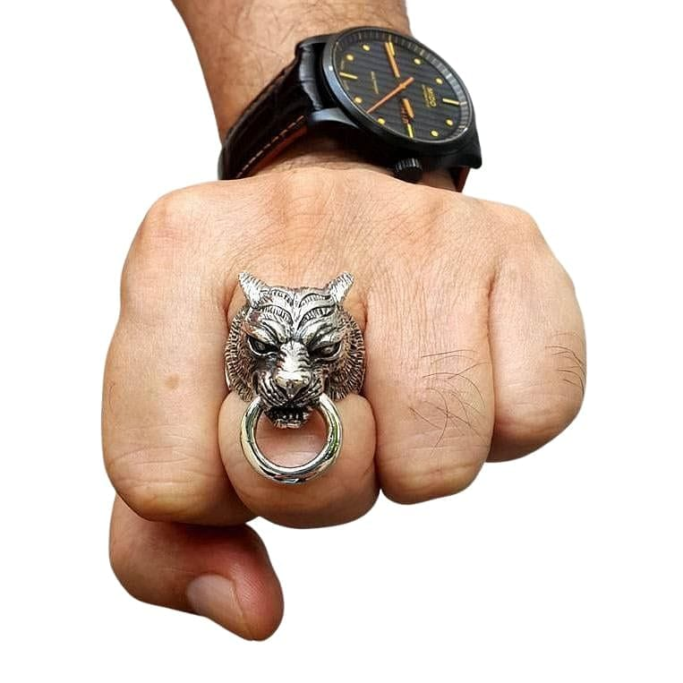 tiger ring for men on hand