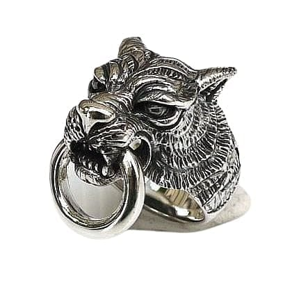 tiger head silver ring