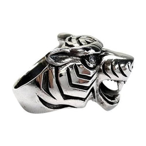 tiger silver men's ring
