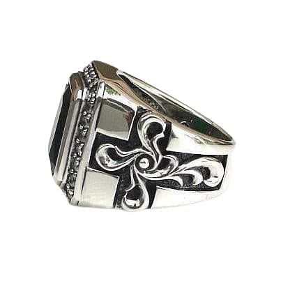 Sterling Silver Tribal Cross Emerald Mens Ring