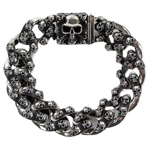 tribal skull sterling silver men armbånd