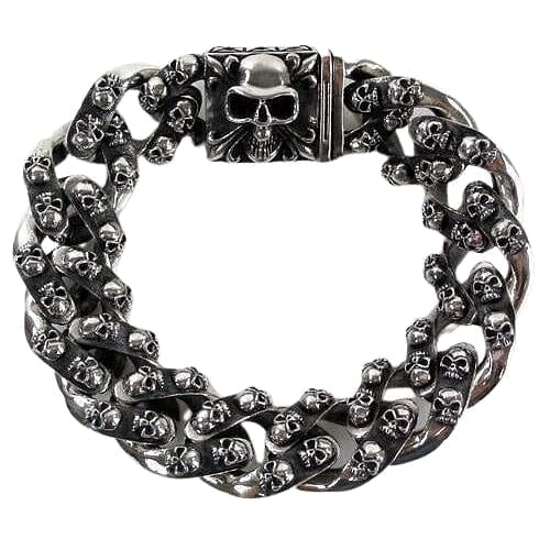 tribal skull sterling silver men's bracelet