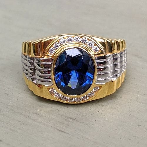 Sapphire Yellow Gold Two Tone Rolex Mens Ring