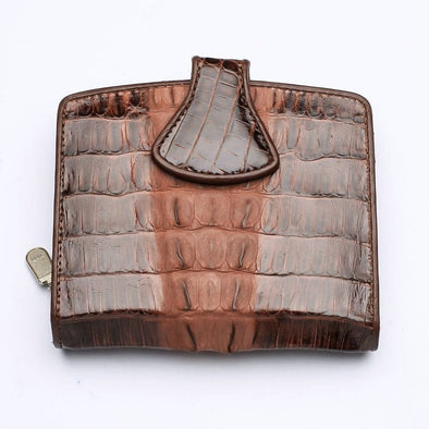 Twotone Brown Crocodile Skin Womens Wallets-Bikerringshop
