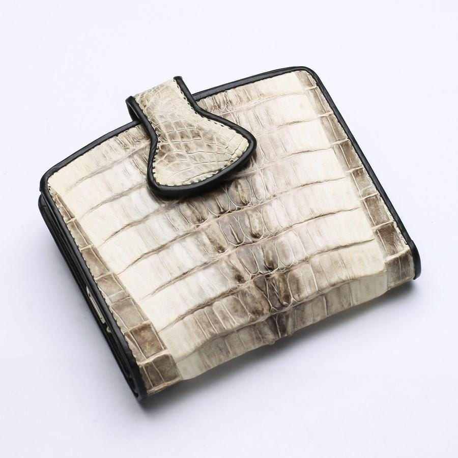 alligator croc skin leather wallet for women