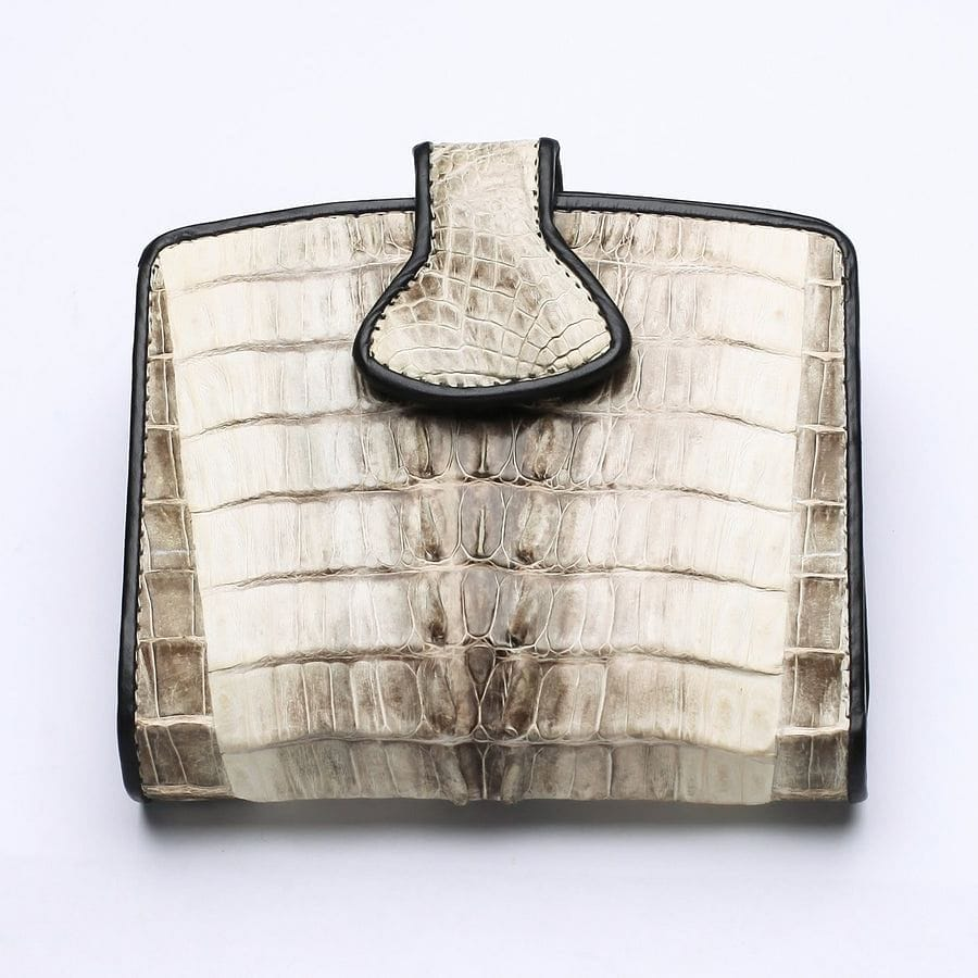 twotone crocodile leather womens wallet