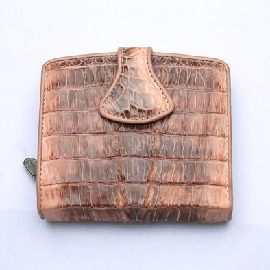 Twotone Old Rose Crocodile Skin Womens Wallets-Bikerringshop
