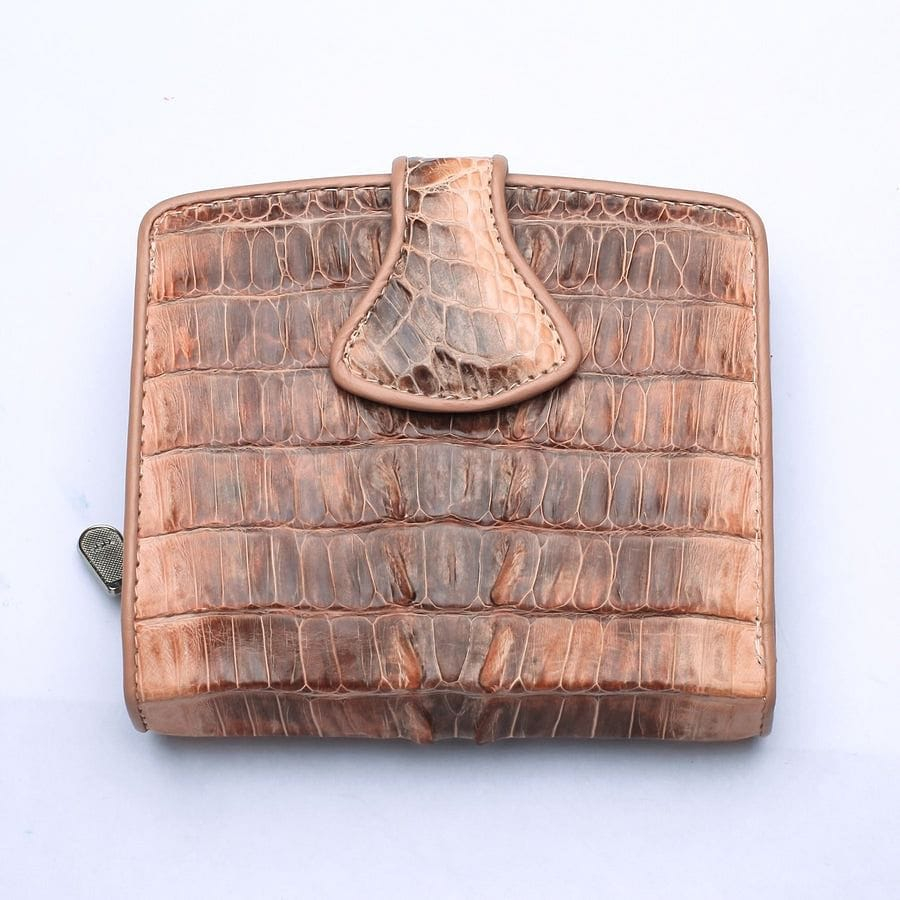 old rose crocodile leather womens wallet