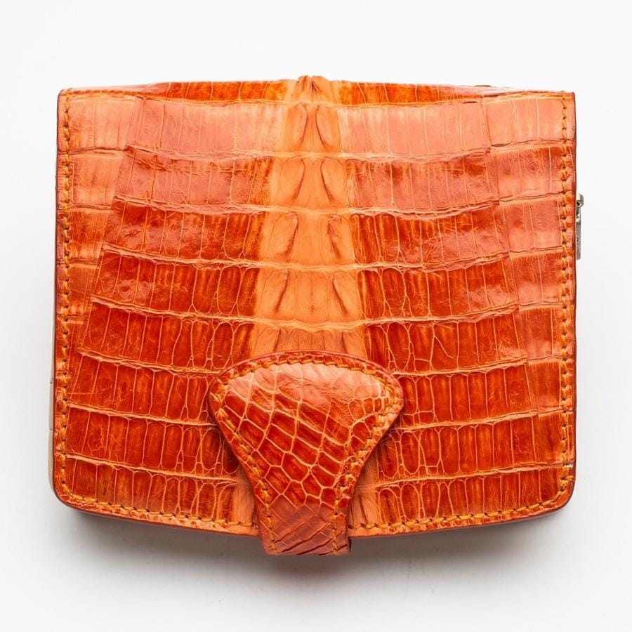 orange small croc alligator womens wallet