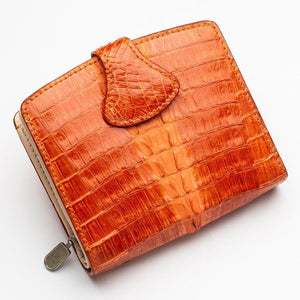twotone real crocodile leather wallet for women