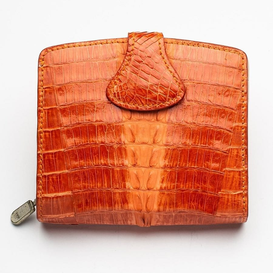 orange genuine crocodile skin leather wallet