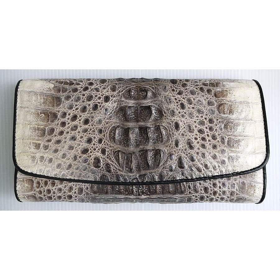 vintage grey genuine crocodile leather trifold wallet
