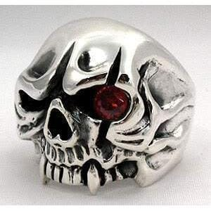 red eye vampire silver ring