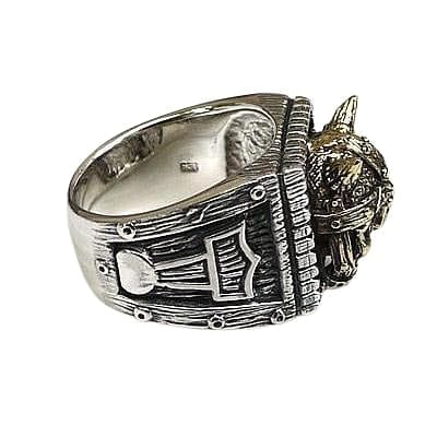 Viking Skull Thors Hammer Ring