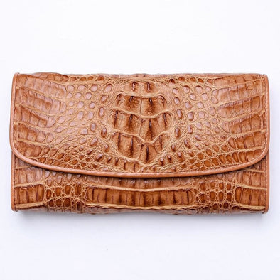 Vintage Brown Crocodile Leather Women Wallet Purse