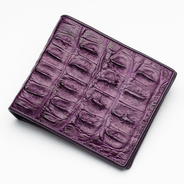 purple backbone croc alligator wallet