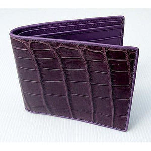 violet crocodile stomach skin wallet