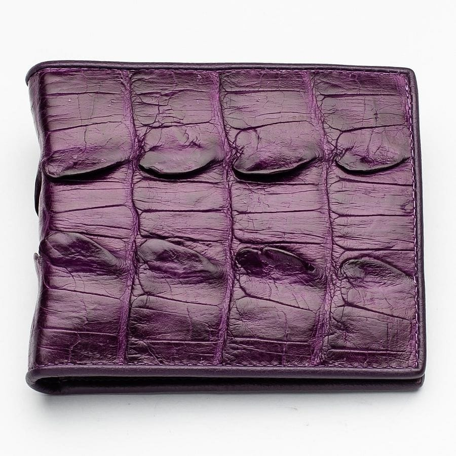 violet crocodile leather wallet