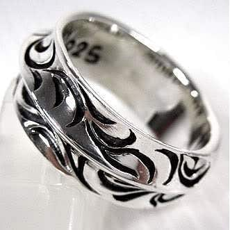 wave sterling silver band ring