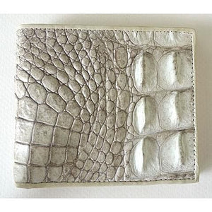 Real White Pearl Crocodile Backbone Wallet