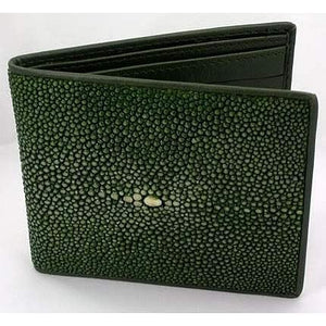 green polished stingray skin wallet