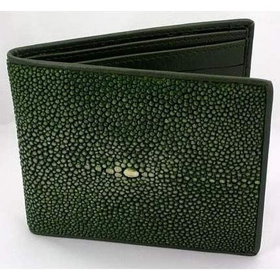 White Pearl Green Polished Stingray Wallet