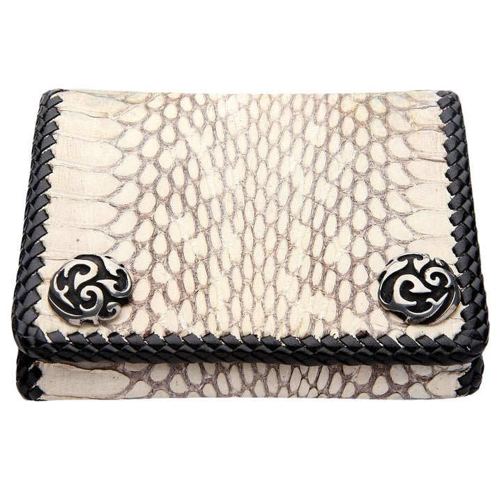 genuine cobra snake leather biker wallet