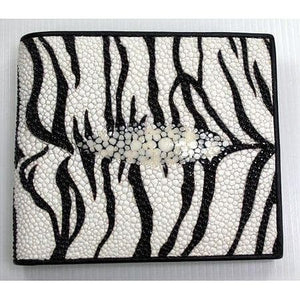 white tiger design stingray skin wallet