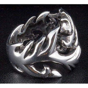 Wolf Tattoo Sterling Silver Gothic Ring