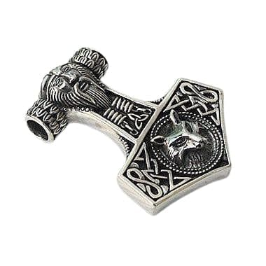 Sterling silver wolf thors hammer pendant bikerringshop wolf thors hammer pendant mozeypictures Gallery