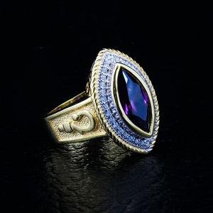Bishop Pastoral's staff Marquise Amethyst women's ring