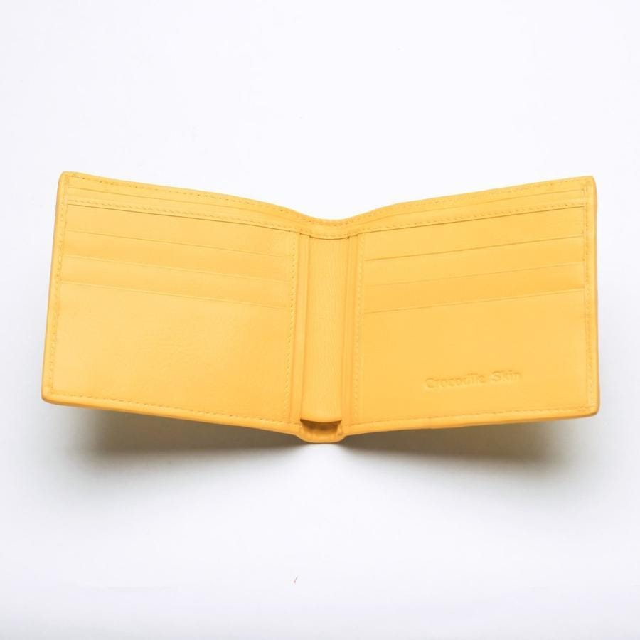 Yellow Crocodile Stomach Leather Bifold Wallets