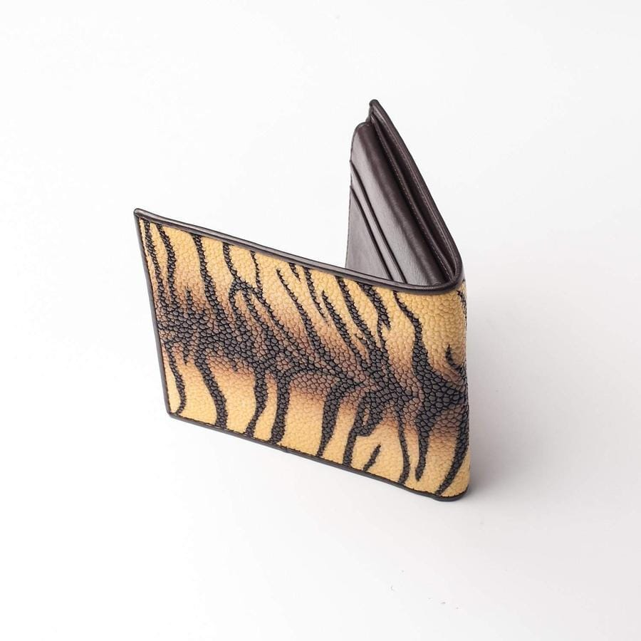 Yellow Tiger Design Stingray Skin Leather Wallet