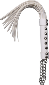 White PVC Sex Flogger with a chain