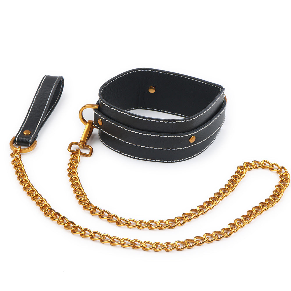 Gold and Black Leather Collar - Exxrotica
