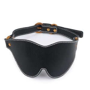 Gold and Black Leather Blindfold - Exxrotica