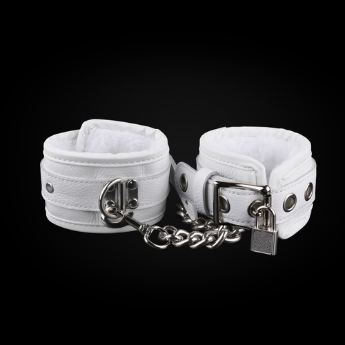 White Buffalo Leather Handcuffs - Exxrotica