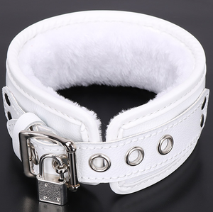 white buffalo leather sex collar with keys and lock for bdsm and bondage