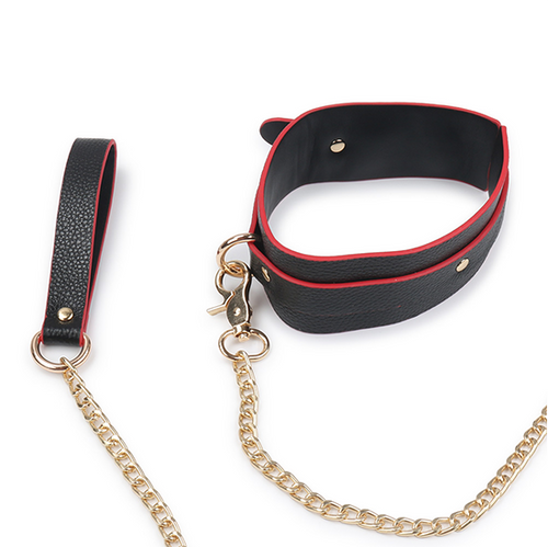 Buffalo Leather Bondage Slave Collar in Red and Black Color