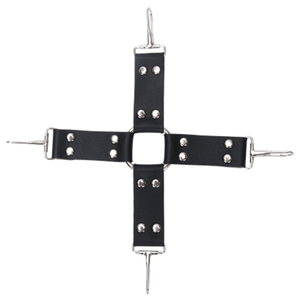Black PVC Sex Hogtie Cross Buckle for bondage Fun