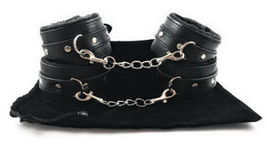pu leather bondage handcuffs and ankle cuffs