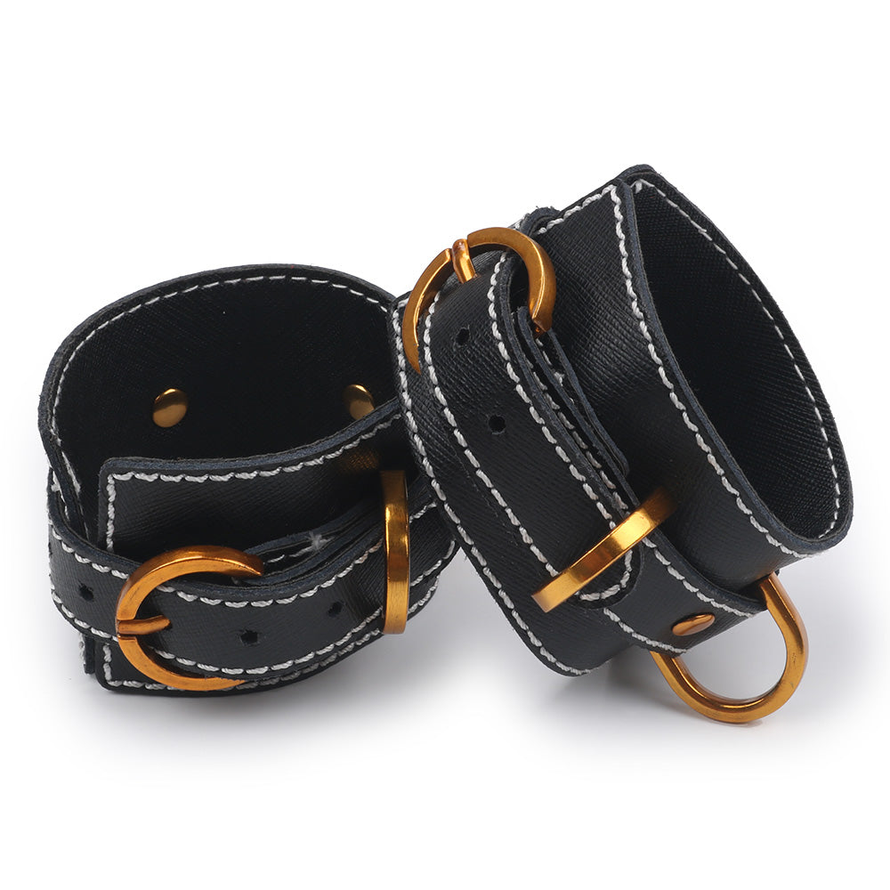 Gold and Black Leather Ankle Cuffs - Exxrotica