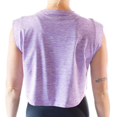 Rear view of lady wearing born primitive violet purple crop top, the back of the top is plain.