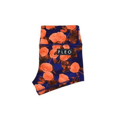 Fleo Orange Roses I Best Women's Gym Shorts I Workout Booty Shorts I Cheeky Shorts