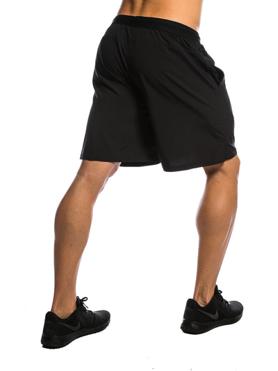 Black Logo Men's Gym Shorts Back View