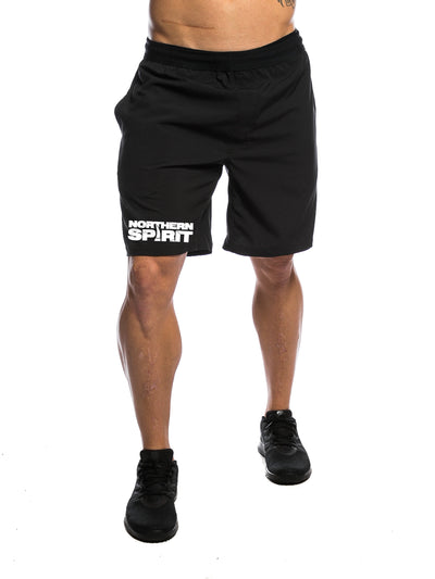 Black Logo Men's Gym Shorts Front View