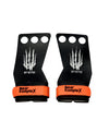 Carbon covered 3 hole black gymnastics grips with orange wrist straps containing the Bear Komplex Logo