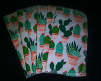 Cactus Print double layer 8x8 - wipes, family cloth, napkin, unpaper towels, toilet paper