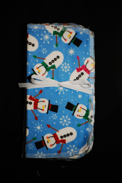 Snowman on blue background 8x8 - wipes, family cloth, napkin, unpaper towels, toilet paper