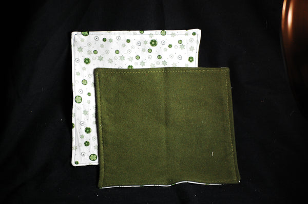 Dark Green/White Print Reusable cloth napkins, set of 4